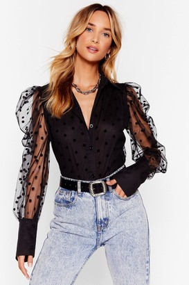 Nasty Gal Womens We Kid You Spot Organza Puff Sleeve Shirt - Black - S