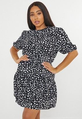 Missguided Plus Size Black Dalmatian Print Puff Sleeve Mini Dress