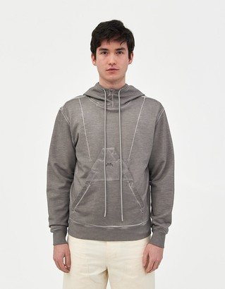A-Cold-Wall* Men's Diesel Red Tag Overdyed Hoodie Sweatshirt in Light Grey Garment Dye, Size Small | 100% Cotton