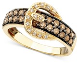 Thumbnail for your product : LeVian Chocolate Diamond (3/4 ct. t.w.) and White Diamond Accent Buckle Ring in 14k Gold