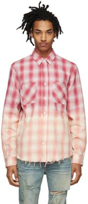 Amiri Red and Pink Lurex Plaid Shirt