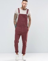 Asos Overalls In Bow Leg In Burgundy
