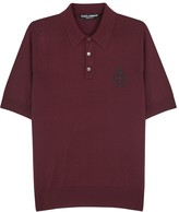 Dolce & Gabbana Bordeaux Embroidered Wool Polo Shirt