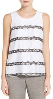 Nic+Zoe Squares Away Embroidered Tank
