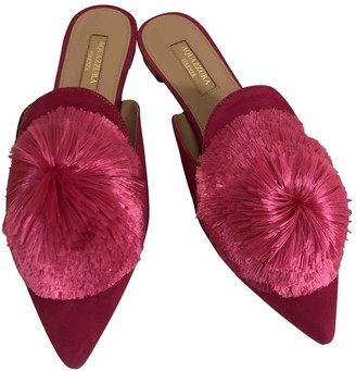 Aquazzura Powder Puff Pink Suede Sandals