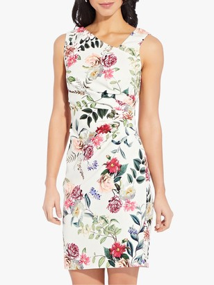 Adrianna Papell Parisian Sheath Floral Dress, Ivory/Multi