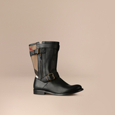 Burberry Check Detail Belted Leather Boots