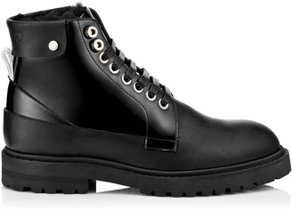 Jimmy Choo The Voyager: SNOW/M Black Shiny Calf Leather Boots with Heated Soles