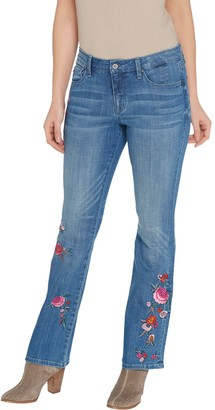 Laurie Felt Petite Classic Denim Embroidered Boot-Cut Jeans