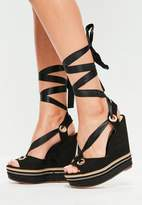 Missguided Black Chain Detail Ribbon Tie Wedge Sandals, Black