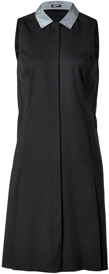 Jil Sander Navy Wool Dress in Black