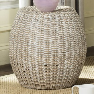 Bay Isle Home Willow Drum End Table Color: Antique Gray