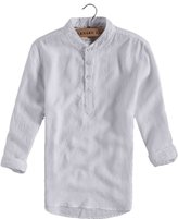 Qiuse Men's Casual Linen Band Collar Four-Button Up Long-Sleeve Henley Shirt Tops
