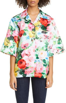 Richard Quinn Floral Print Satin Camp Shirt