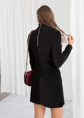 And other stories Turtleneck Velour Mini Dress