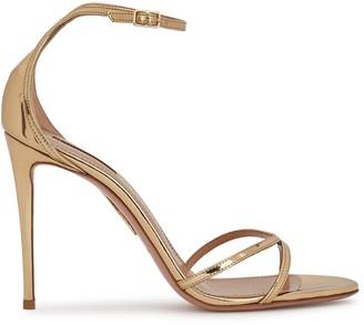 Aquazzura Purist 105 Gold Leather Sandals