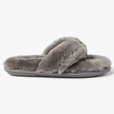 John Lewis Sheepskin Toe Post Slippers, Grey