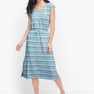 Talbots Drawstring Tie Waist Midi Dress