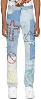 Who Decides War by MRDR BRVDO Blue Unified Embroidered Jeans