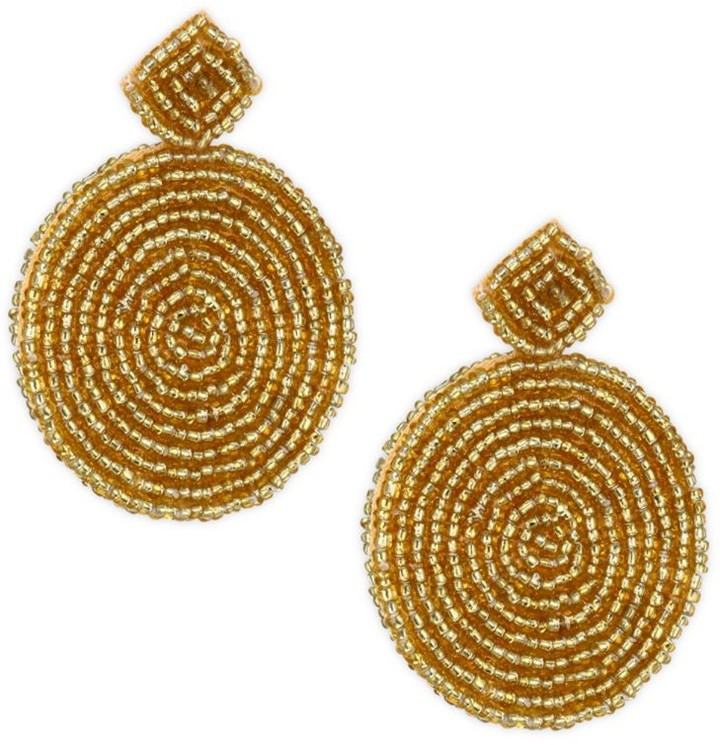 Kenneth Jay Lane Seed Bead Circle Earrings