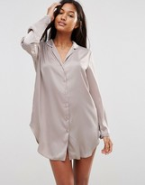 Asos Moss Oversized High Shine Satin Nightshirt