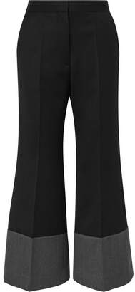 Loewe Two-tone Wool-twill Wide-leg Pants - Black