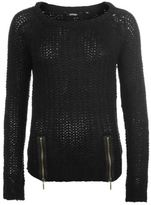 Golddigga Womens Zip Knitted Jumper Sweater Pullover Long Sleeve Round Neck