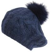 Eugenia Kim Women's 'Genevieve' Genuine Arctic Fox Fur Trim Alpaca Beret - Blue