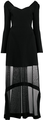 Alexander McQueen Sheer Panel Long-Sleeve Dress