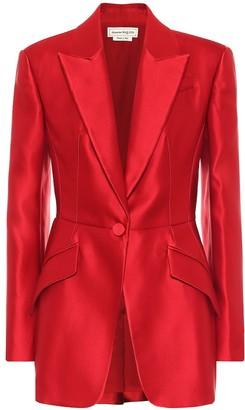 Alexander McQueen Silk satin peplum blazer