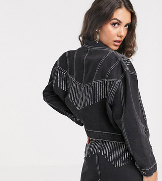 N. Liquor Poker denim jacket with diamante fringing co-ord-Black