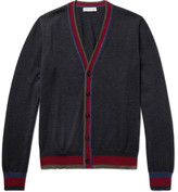 Etro Contrast-trimmed Wool Cardigan - Dark gray