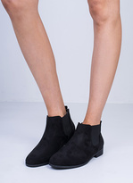 Missy Empire Violeta Black Suede Elasticated Ankle Boots