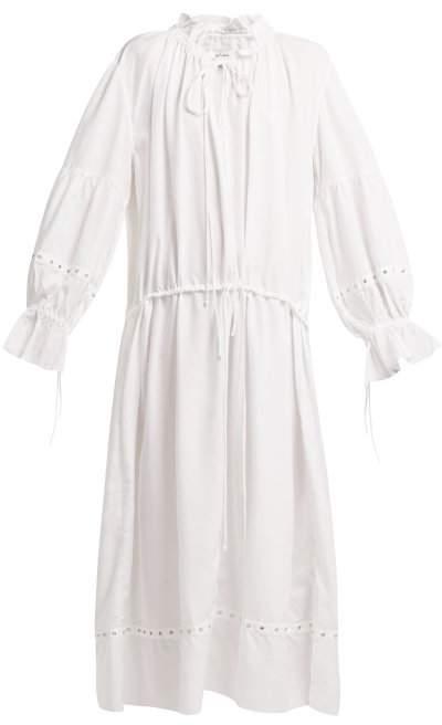 Marques Almeida Marques'almeida - Ruched Neck Drawstring Waist Tencela Dress - Womens - White