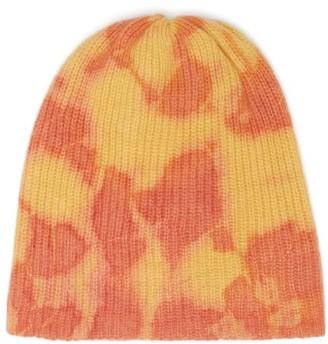 The Elder Statesman Hot Dye Tie-dye Cashmere Beanie Hat - Womens - Yellow Multi