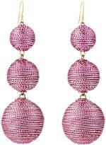 Kenneth Jay Lane Threaded Triple-Drop Ball Earrings, Pink