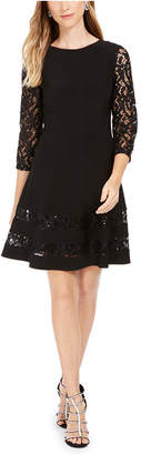 Jessica Howard Petite Sequined Lace-Sleeve Dress