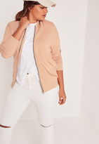Missguided Plus Size Loop Back Bomber Jacket Camel