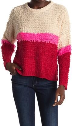 Woven Heart Textured Colorblock Stripe Sweater