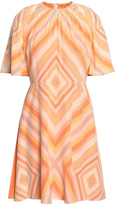 Valentino Gathered Printed Silk-crepe Mini Dress