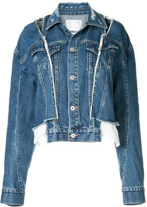 Ground Zero cut-out dropped sleeves denim jacket