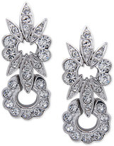 Nina Silver-Tone Swarovski Crystal Floral Drop Earrings