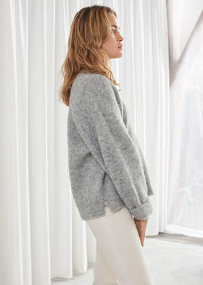 And other stories Oversized V-Neck Ribbed Sweater