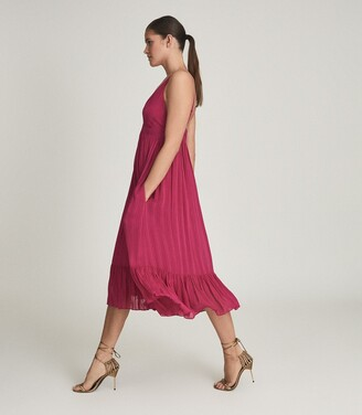 Reiss Marie - Striped Midi Dress in Pink