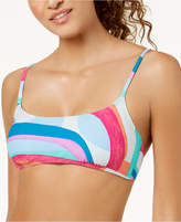 Hula Honey Junior's Flying Colors Printed Strappy-Back Bikini Top, Created for Macy's