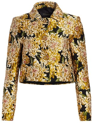 Escada Chrysanthemum Jacquard Crop Jacket