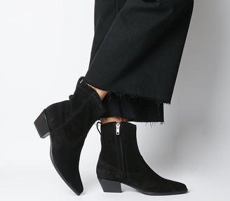 Vagabond Emily Western Block Heels Black Suede