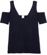 Iris and Ink Savannah Cold-Shoulder Milano-Knit Wool Top