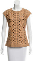 Catherine Malandrino Leather Laser-Cut Top w/ Tags