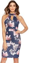 Quiz Navy And Pink Floral Print Cut Out Midi Dress